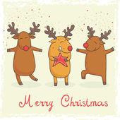 Christmas card with cute cartoon deers — Stock Vector