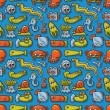 Seamless pattern with cute sea monsters — Stock Vector