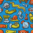Royalty-Free Stock Vector Image: Seamless pattern with cute sea monsters