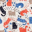 Stock Vector: Cats seamless pattern