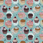 Cakes seamless pattern — Stock Vector