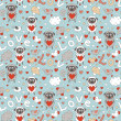 Romantic seamless pattern with funny cartoon animals — Stockvektor