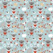 Romantic seamless pattern with funny cartoon animals - Stock Vector
