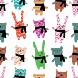 Royalty-Free Stock Imagen vectorial: Cats, rabbits and bears seamless pattern