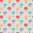 Seamless pattern with hearts rain and cute smiling clouds — Vector de stock