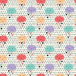 Seamless pattern with hearts rain and cute smiling clouds — Stockvectorbeeld