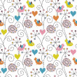 Romantic seamless pattern. Birds, flowers and hearts — Stock Vector #18697291