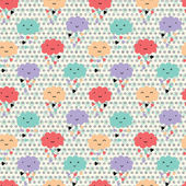 Seamless pattern with hearts rain and cute smiling clouds — Διανυσματικό Αρχείο