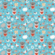 Romantic seamless pattern with funny cartoon animals — Stock Vector