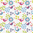 Romantic seamless pattern. Birds, flowers and hearts — Stock Vector #18838953