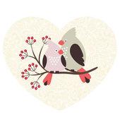 Verliefde paar van vogels — Stockvector