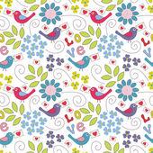 Romantico modello senza soluzione di continuità. uccelli, fiori e cuori — Vettoriale Stock