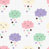 Seamless pattern with hearts rain and cute smiling clouds — Stok Vektör