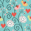 Stock Vector: Romantic seamless pattern. Birds, flowers and hearts