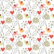 Romantic seamless pattern. Birds, flowers and hearts - Stock Vector