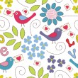 Romantic seamless pattern. Birds, flowers and hearts — Stock Vector