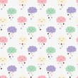 Seamless pattern with hearts rain and cute smiling clouds — Stock vektor