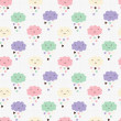 Seamless pattern with hearts rain and cute smiling clouds — Image vectorielle