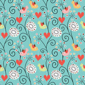 Romantic seamless pattern. Birds, flowers and hearts — Stockvektor