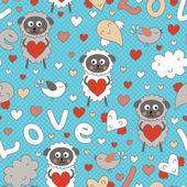 Romantico seamless pattern con animali divertenti cartoon — Vettoriale Stock
