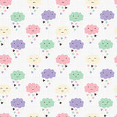 Seamless pattern with hearts rain and cute smiling clouds — Stock Vector