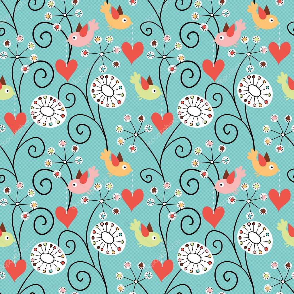 Romantic seamless pattern. Birds, flowers and hearts — Stock Vector #18967761