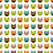 Funny cartoon cats. Seamless pattern — Stock Vector
