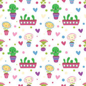 Cute cartoon flowers. Seamless pattern — Stock Vector