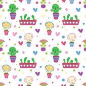 Söta tecknade blommor. seamless mönster — Stockvektor