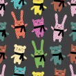 Cats, rabbits and bears seamless pattern — Stock Vector