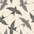 Swallow seamless pattern - Stock Vector