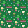 Cute cartoon flowers. Seamless pattern — Stok Vektör