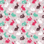 Cute seamless pattern with bunnies — Stock Vector
