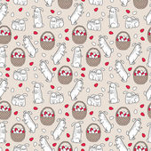 Easter seamless pattern with cute bunnies — Stock Vector