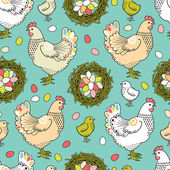 Easter seamless pattern with hen and nest — Stock Vector