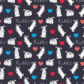 милый любовь зайчики шаблон с сердечками — Cтоковый вектор