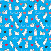 Cute love bunnies pattern with hearts — Vector de stock