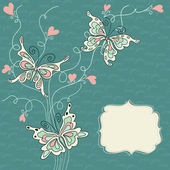 Vector romantic background with butterflies — Stok Vektör