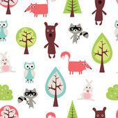 Cute animals seamless pattern — Stock Vector