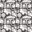 Abstract animals seamless pattern — Imagen vectorial