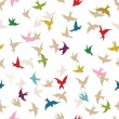Stock Vector: Spring birds seamless pattern