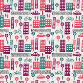 City seamless pattern — Stock Vector
