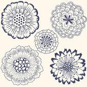 Conjunto de flores abstratas — Vetor de Stock