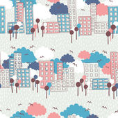 City seamless pattern — ストックベクタ