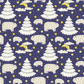 Night forest. Christmas seamless pattern — Stock Vector