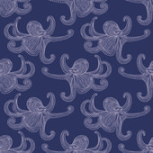 Seamless pattern with octopuses — Stock Vector