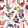Vector seamless pattern with cute cartoon birds — Stockvektor