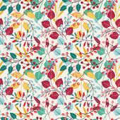 Autumn floral seamless pattern — Stock Vector