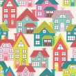 Houses seamless pattern — Stock Vector