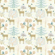 Winter forest. Christmas seamless pattern — Stock Vector